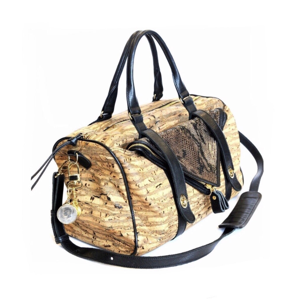 Cork Duffel with Black Leather Detailing