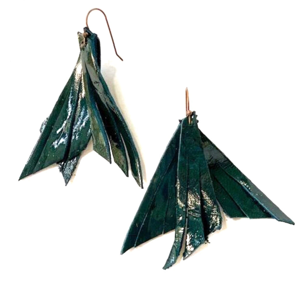 Emerald Feather Earring