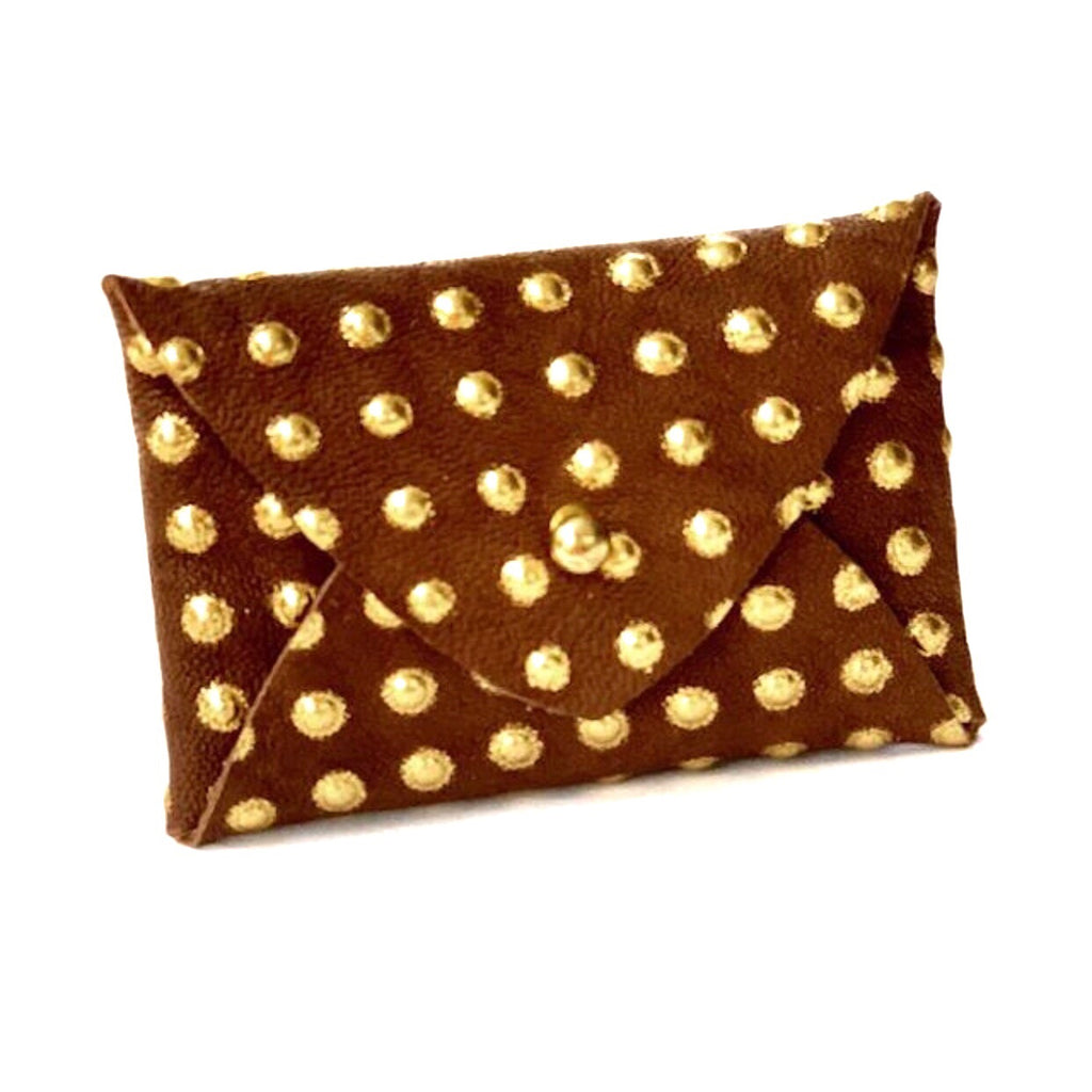Mighty Mini Wallet - Brown/Gold Dot