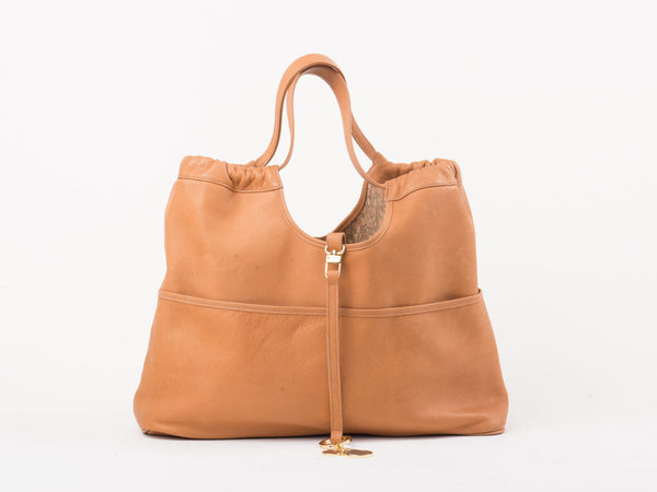 Tan and Cork Reversible Vagabond Bag