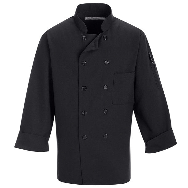 Black Chef Coat, Short or Long Sleeve