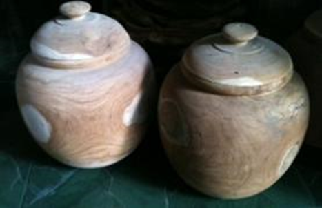 Wooden Pots with lids
