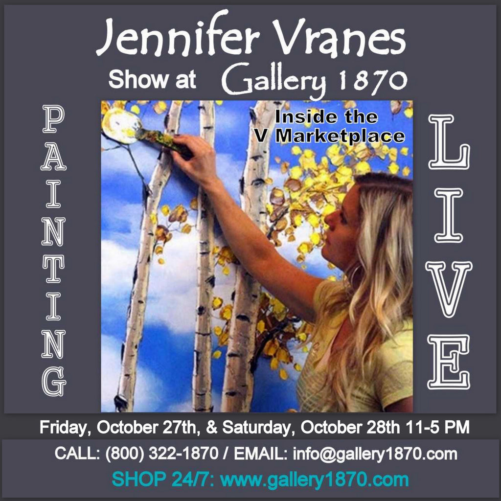Textures of Life Artist Jennifer Vranes painting live at Gallery 1870 - Friday October 27th and Saturday October 28th