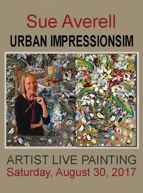 Sue Averell painting live at Gallery 1870 September 30, 2017