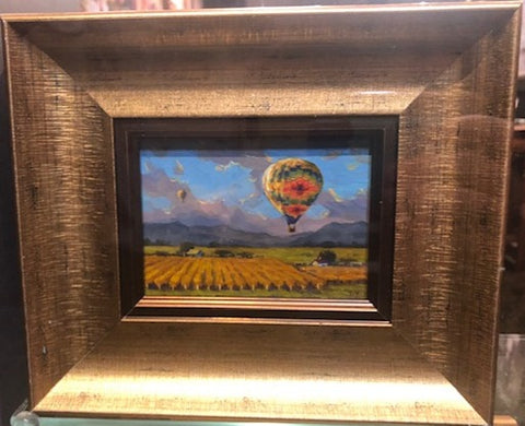 "Ballooning Over Napa Valley 3 x 4"" miniature original"