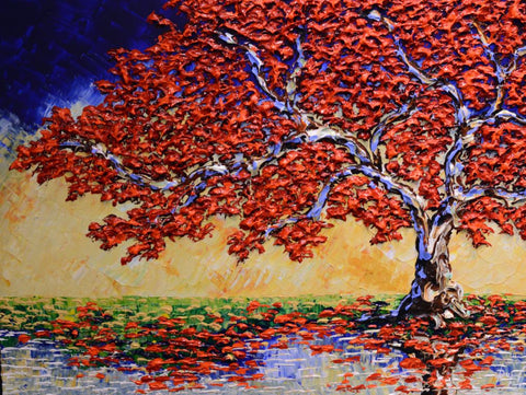 Bright Maple of Fresh Streams Original 30x40""
