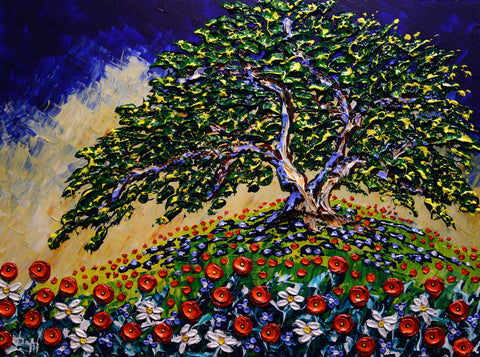 Afternoon Under the Oak Tree Original 30x40""