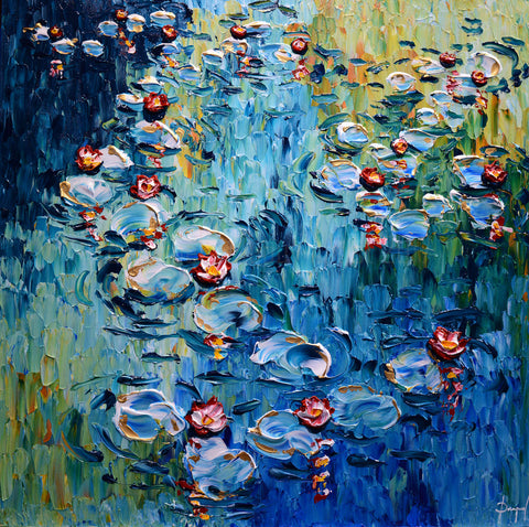 Colorful Lilies of Beautiful Waters Original 40x40""