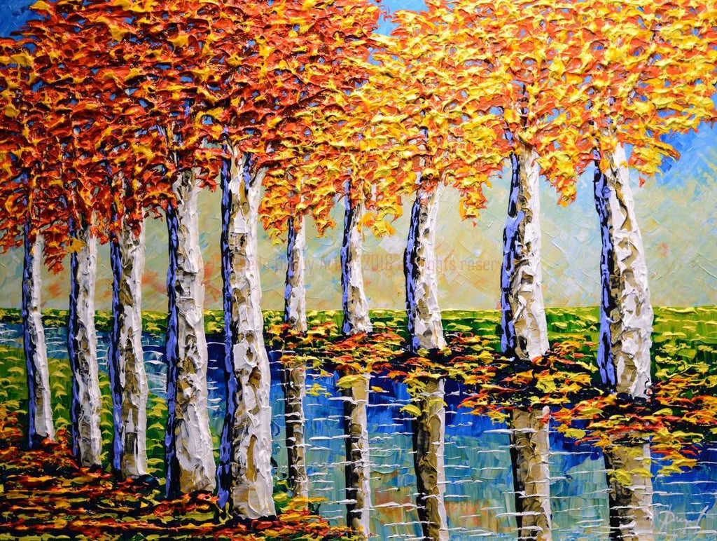 "Towering Sycamores of Colorful Streams 30x40"" original"