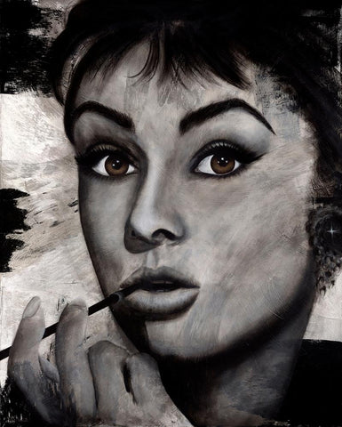 Audrey  original by Valentina Bautista is a larger than life painting of Audrey Hepburn
