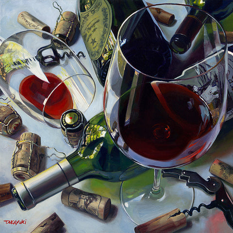 After the Party by Takayuki Harada - an original oil on canvas of wine and champagne and corks