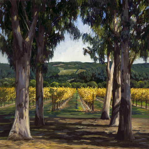 Afternoon Sun by Susan Hoehn features a Napa Valley vineyard in fall and eucalyptus trees.