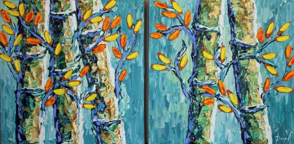 Bamboo Flourishing in Harmony original diptych by Isabelle Dupuy