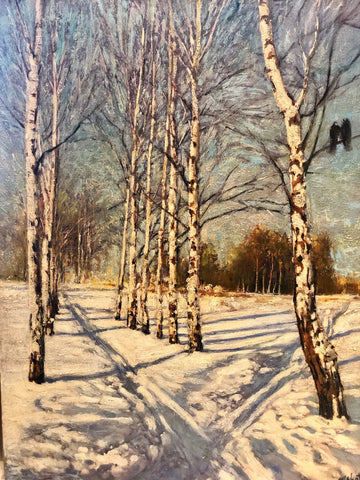 "Birches in Winter 14.5 x 11"" oil on panel"