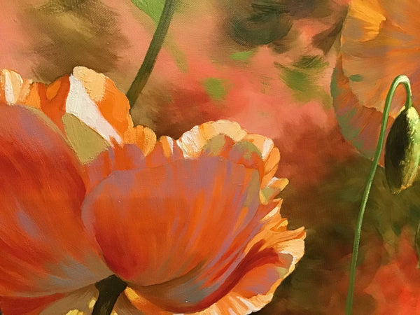 "Bright Poppies 36 X 48"" Original oil"