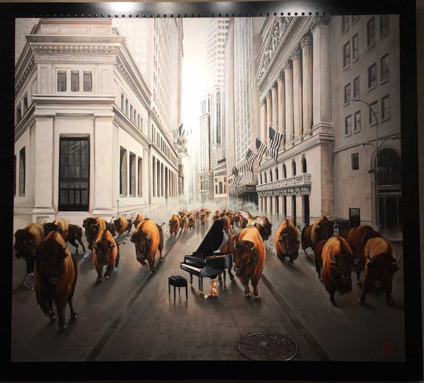 Bull Market by Pete Tillack in artists custom aluminum frame
