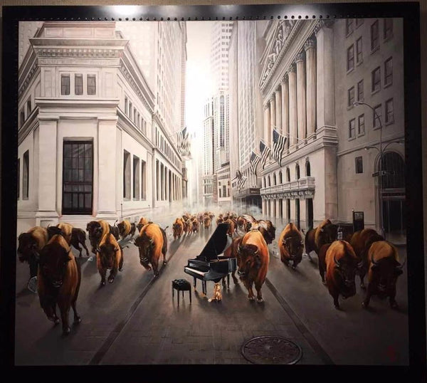 Artists Custom Specialty Frame for Bull Market by Pete Tillack