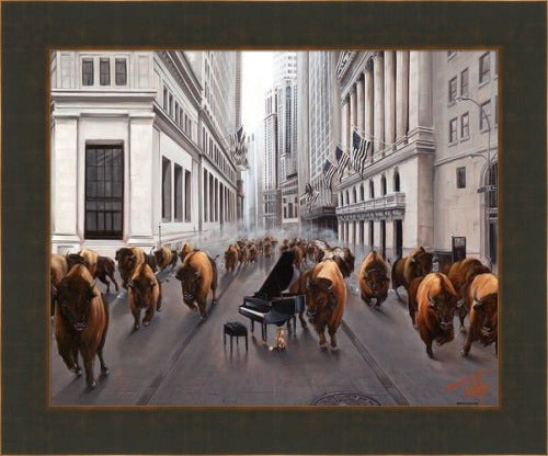 Bull Market by Pete Tillack custom framed in bronze