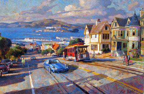 Cable Car to the Bay original oil painting by Leon Roulette