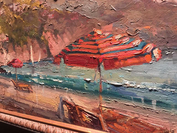Italian Riviera palette knife painting by Steven Quartly close up.