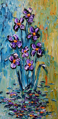 "Colorful Irises Of The Pond 40x20"" original"