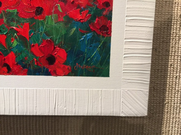 World of Happiness Romantic Impressionism artist Mikki Senkarik's signature frame or signature art finish edge.