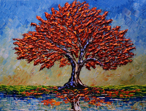 Red Maple of Colorful Reflection Original 30x40""