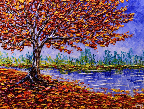 Colorful Maple of Bright Waters Original 30x40""