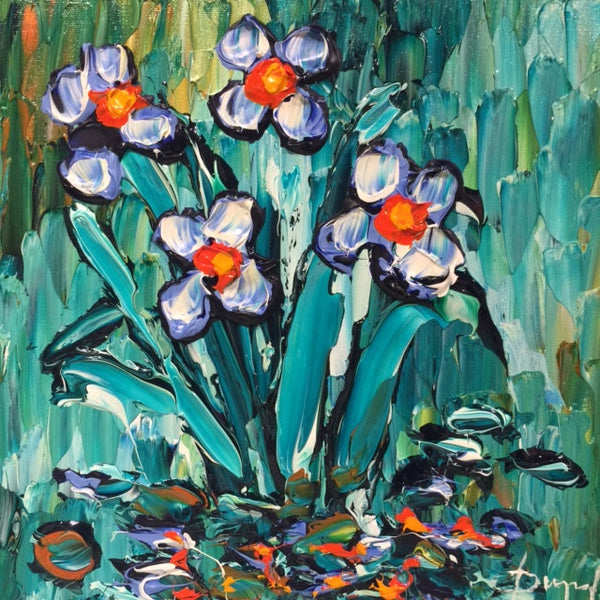 Delightful Irises of Nature Original 12x12""