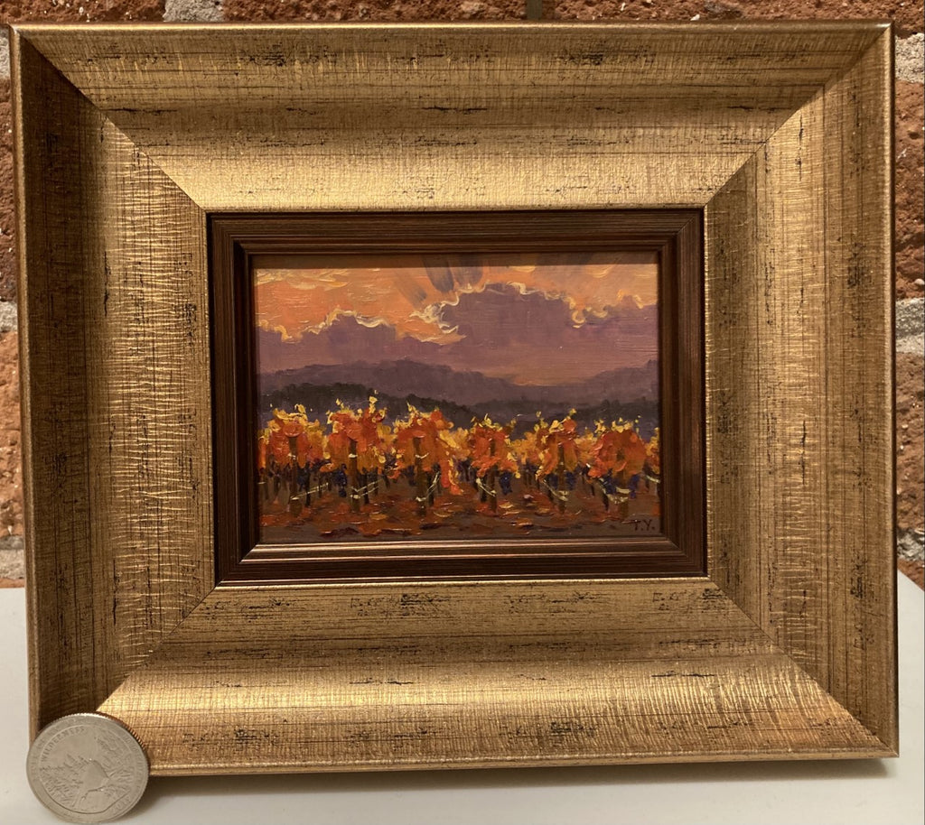 "Fall Vineyard Sunset 3 x 4"" miniature original"