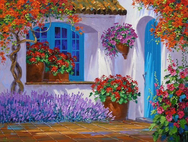 Romantic Impressionism artist Mikki Senkarik creates a World of Happiness with the original oil painting Floral Embrace.  This painting features a courtyard with vibrant flowers, and an inviting turquoise door.  What's beyond the door?