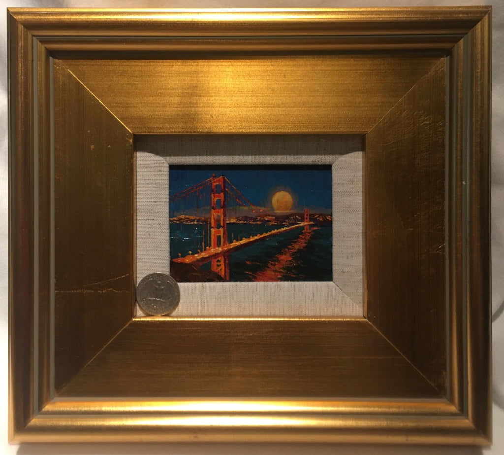 Golden Gate at Night miniature original