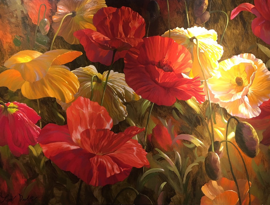 "June Morning 36x48"" original oil on canvas of poppies by Leon Roulette"