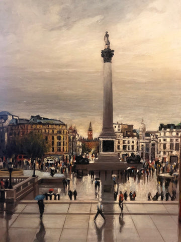 "London, Nelson Column - 17.5x13"" oil on panel"