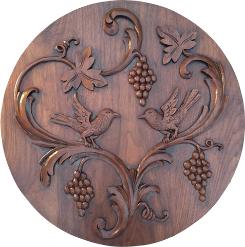 "Love Birds 22"" round wood carving"