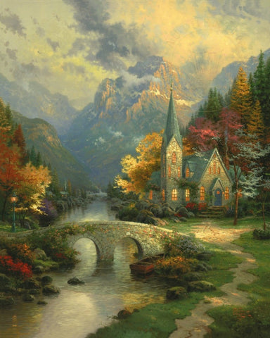 "Mountain Chapel 30x24"" framed limited edition canvas print"