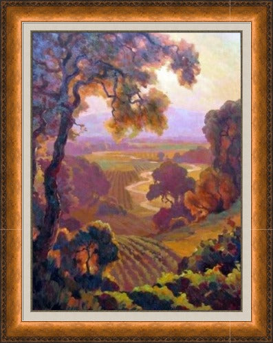 Napa Valley by Leon Roulette - Custom Framed - Vintage Copper