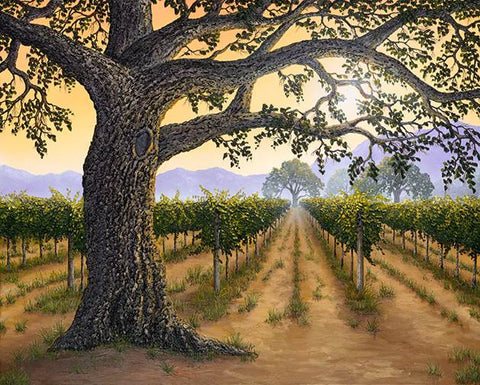 "Napa Valley Legacy 48x60"" original painting by Patrick O'Rourke features an old textural oak tree casting a canopy over the Napa Valley vines.  Are the vines the Napa Valley Legacy, or is it the great oak?"