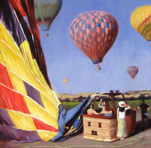 Napa Valley Balloon Day - Original Oil on Canvas 24x24""