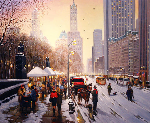 "New York in the Snow - 20x24""/27.5x31.5"" - Original"