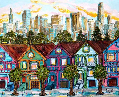 "Painted Ladies 48x60"" original acrylic on canvas offered by Sue Averell"