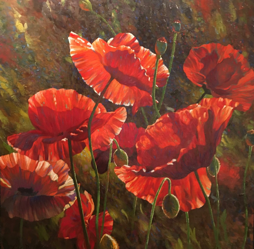 "Painted Poppies 48 X 48"" Original oil"