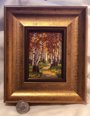 Pathway Through the Birch Trees miniature original