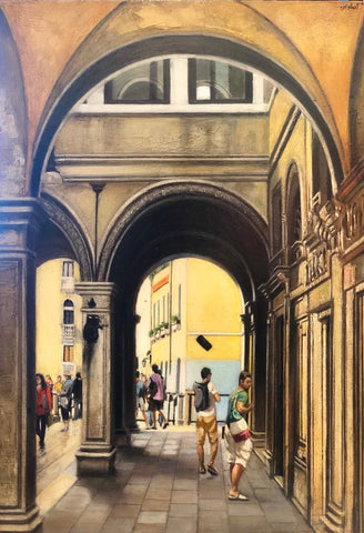 "The Piazza San Marco Arcade in Venice 17.5x12.5"" oil on panel"