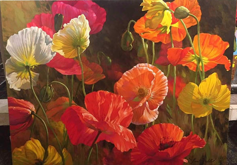 "Poppy Color 36x48"" - Original Oil"