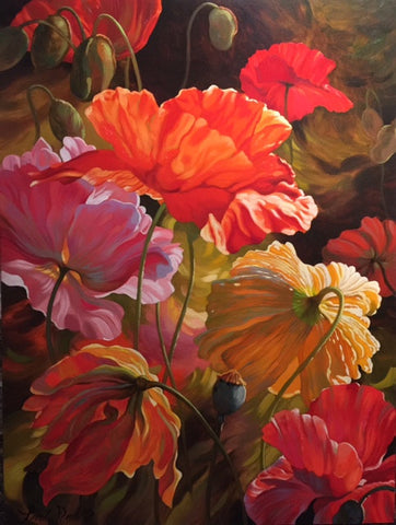Poppy Glow - original oil painting on canvas by Contemporary Impressionism artist Leon Roulette