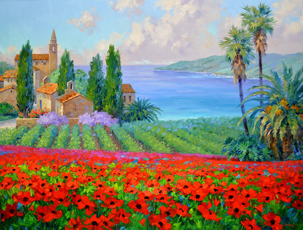"Romantic Impressionism artist Mikki Senkarik creates a ""World of Happiness"" with Spring's Embrace original oil on canvas.  This paintings has it all from poppy fields, a vineyard and an ocean view in the vibrant colors that Senkarik is known for."
