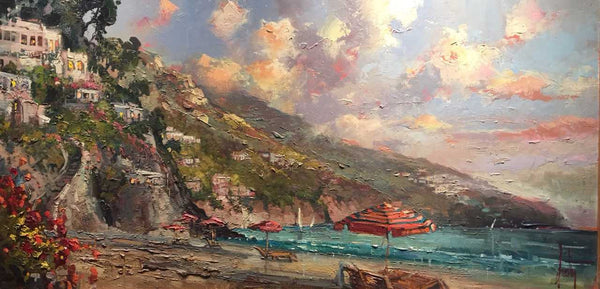 "Summer Romanc 24x48"" original oil on canvas by Steven Quartly depicts the Italian Riviera - Lake Como.  What better place for a Summer Romance?"