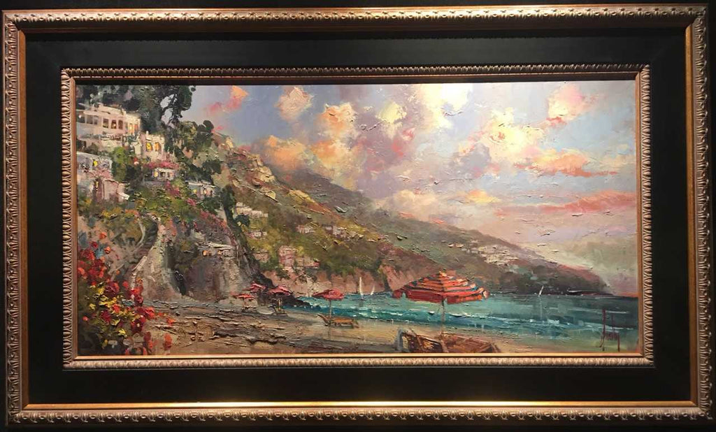 "Summer Romanc 24x48"" framed original oil on canvas by Steven Quartly depicts the Italian Riviera - Lake Como.  What better place for a Summer Romance?"