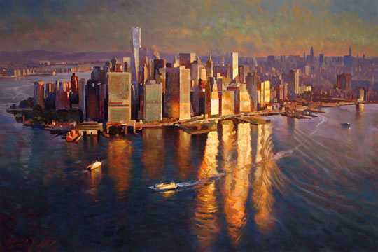 "Sunrise Over Manhattan 40x60"" Original Oil"